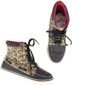 Sperry Top-Sider leopard print high top shoes 7